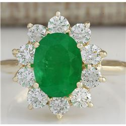 3.08 CTW Natural Emerald And Diamond Ring 18K Solid Yellow Gold