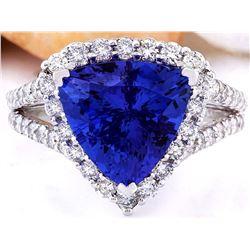5.03 CTW Natural Tanzanite 14K Solid White Gold Diamond Ring