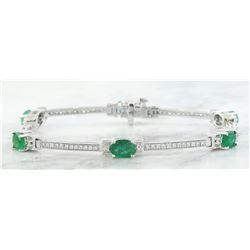 4.53 CTW Emerald 18K White Gold Diamond Bracelet