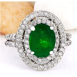 3.53 CTW Natural Emerald 18K Solid White Gold Diamond Ring