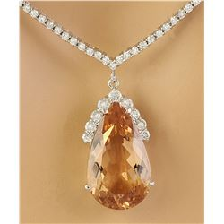 15.65 CTW Morganite 14K White Gold Diamond Necklace