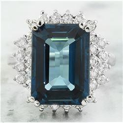 9.78 CTW Topaz 14K White Gold Diamond Ring