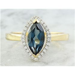 1.32 CTW Topaz 14K Yellow Gold Diamond Ring