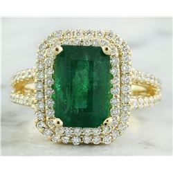 4.42 CTW Emerald 18K Yellow Gold Diamond Ring