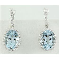 11.40 CTW Aquamarine 18K white Gold Diamond earrings