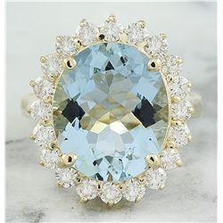 7.16 CTW Aquamarine 18K Yellow Gold Diamond Ring