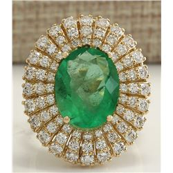 6.94 CTW Natural Colombian Emerald And Diamond Ring 18K Solid Yellow Gold