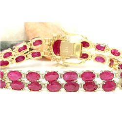 32.15 CTW Natural Ruby 14K Solid Yellow Gold Diamond Bracelet