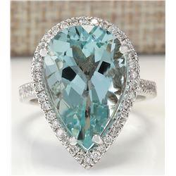 8.35 CTW Natural Aquamarine And Diamond Ring In 14K White Gold