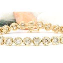 9.96 CTW Natural Diamond 18K Solid Yellow Gold Bracelet