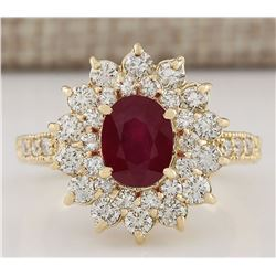 3.12 CTW Natural Ruby And Diamond Ring In 18K Yellow Gold