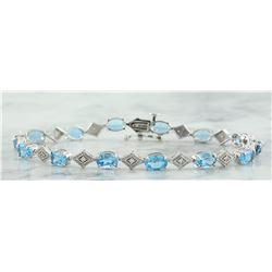 8.50 CTW Topaz 14K White Gold Diamond Bracelet