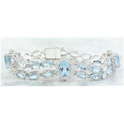 20.15 CTW Aquamarine 14K White Gold Diamond Bracelet