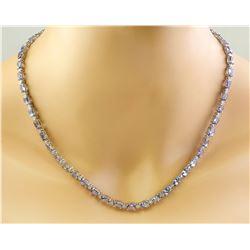 35.90 CTW Tanzanite 14K White Gold Diamond Necklace