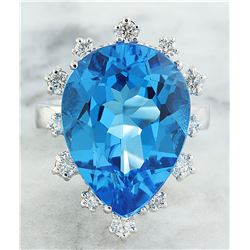 17.80 CTW Topaz 18K White Gold Diamond Ring
