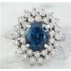6.30 CTW Zircon 18K White Gold Diamond Ring