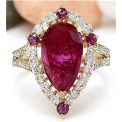 4.52 CTW Natural Ruby 18K Solid Yellow Gold Diamond Ring