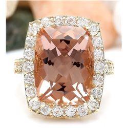 12.52 CTW Natural Morganite 18K Solid Yellow Gold Diamond Ring