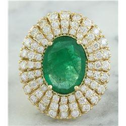 6.94 CTW Emerald 18K Yellow Gold Diamond Ring