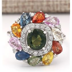 8.91 CTW Natural Sapphire And Diamond Ring In 14k White Gold