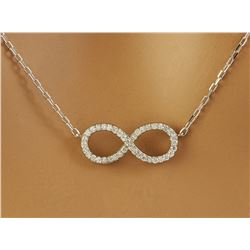 0.30 CTW Diamond 18K White Gold Infinty Necklace