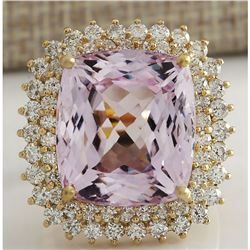 21.94 CTW Natural Kunzite And Diamond Ring 18K Solid Yellow Gold
