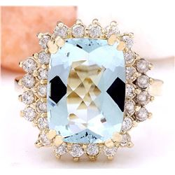 6.10 CTW Natural Aquamarine 18K Solid Yellow Gold Diamond Ring