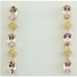2.65 CTW Morganite 14K Yellow Gold Diamond Earrings