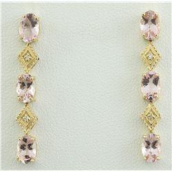 2.65 CTW Morganite 14K Yellow Gold Diamond Earrings