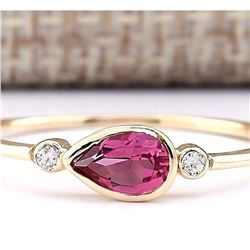 0.58 CTW Natural Pink Tourmaline And Diamond Ring 18K Solid Yellow Gold
