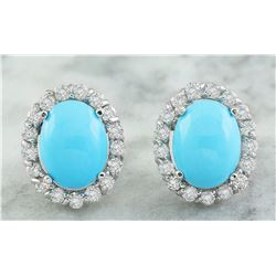 4.67 CTW Turquoise 18K White Gold Diamond Errings