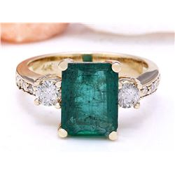 4.20 CTW Natural Emerald 18K Solid Yellow Gold Diamond Ring