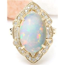 9.05 CTW Natural Opal 14K Solid Yellow Gold Diamond Ring
