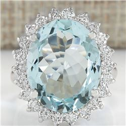 8.91 CTW Natural Aquamarine And Diamond Ring In 18K White Gold