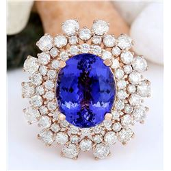 13.27 CTW Natural Tanzanite 14K Solid Rose Gold Diamond Ring
