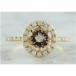 1.60 CTW Morganite 18K Yellow Gold Diamond Ring