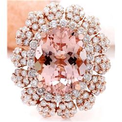 7.86 CTW Natural Morganite 18K Solid Rose Gold Diamond Ring