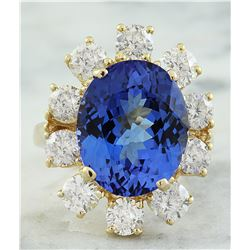 14.70 CTW Tanzanite 18K Yellow Gold Diamond Ring