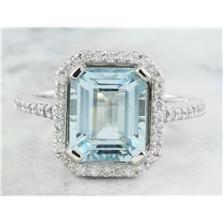 3.53 CTW Aquamarine 18K White Gold Diamond Ring