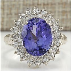6.18 CTW Natural Blue Tanzanite And Diamond Ring 18K Solid White Gold