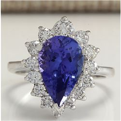 5.26 CTW Natural Tanzanite And Diamond Ring 14K Solid White Gold