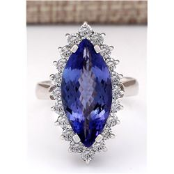 8.80 CTW Natural Blue Tanzanite And Diamond Ring 18K Solid White Gold