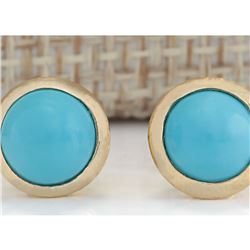 3.00 CTW Natural Turquoise Earrings 14k Solid Yellow Gold