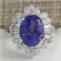 5.31 CTW Natural Tanzanite And Diamond Ring 18K Solid White Gold