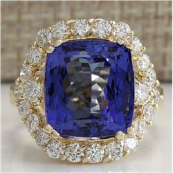 14.68 CTW Natural Blue Tanzanite And Diamond Ring In 18K Yellow Gold