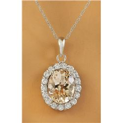 2.00 CTW Morganite 18K White Gold Diamond Necklace