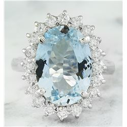 5.80 CTW Aquamarine 18K White Gold Diamond Ring