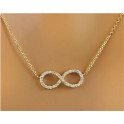 0.30 CTW Diamond 18K Yellow Gold Infinity Necklace