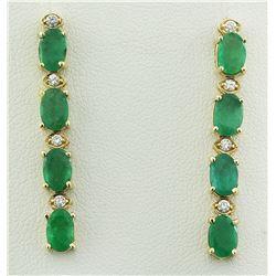 4.68 CTW Emerald 18K Yellow Gold Diamond Earrings