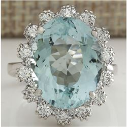 10.25 CTW Natural Aquamarine And Diamond Ring In 18K Solid White Gold